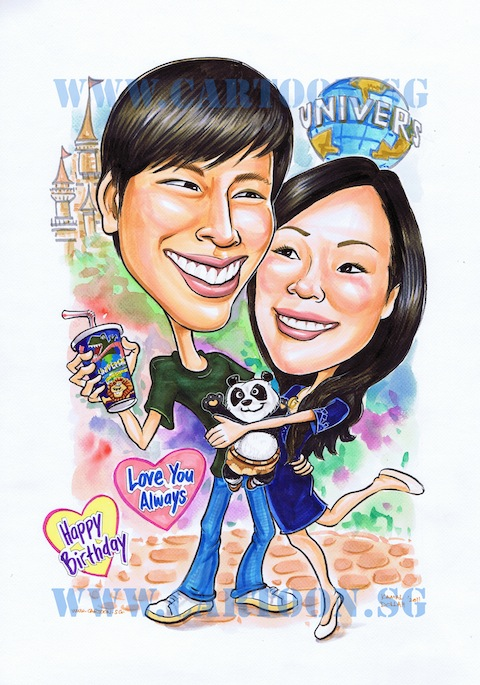 caricature of couple at USS with lady hugging boyfriend and kungfu panda