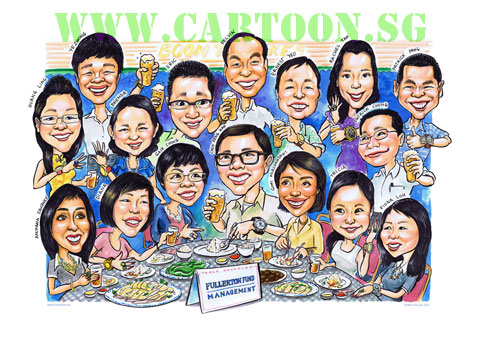 Group caricature for retirement gift or is a commemorative farewell gift of a group of funny face cartoon comic drawing
