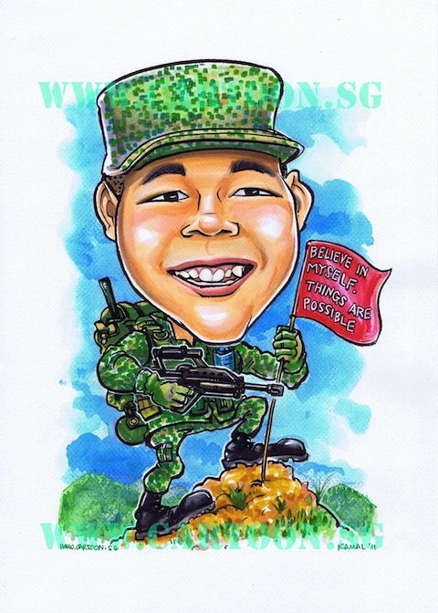 Caricature of a soldier