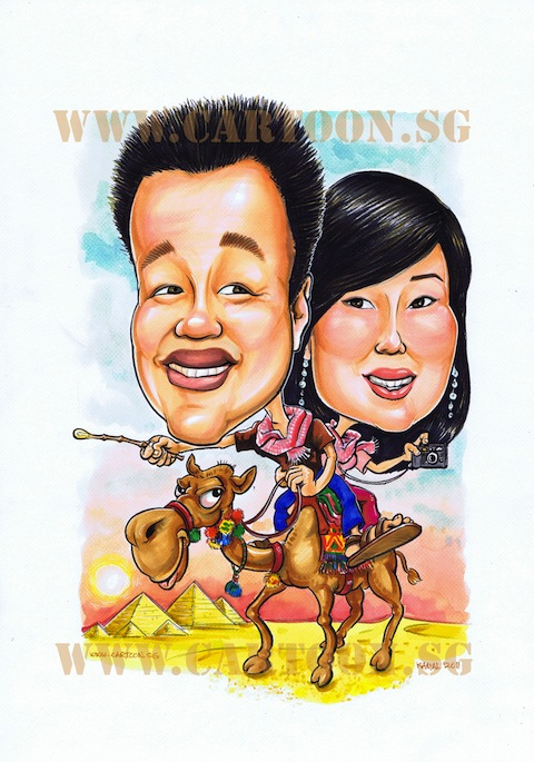 Happy couple caricature sitting on camel riding in the desert by Singapore cartoon caricature artists.
