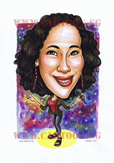 caricature of a lady superstar diva singer with microphone for birthday gift