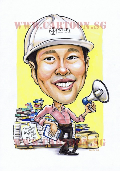 Manager with white hard hat caricature. Smiling with stacks of book.