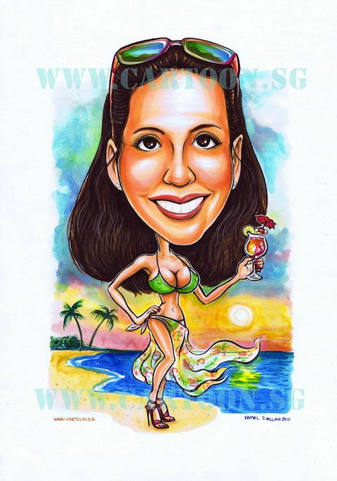 Caricature of lady in bikini by the beach