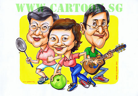 Cartoon style Illustration caricature  of elderly person engaging in active lifestyle. Singapore