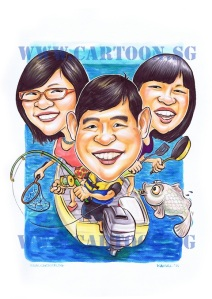 Caricature of three happy faces in a boat fishing