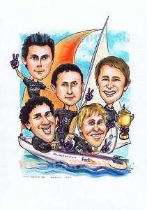 5 man sailing on yacth caricature