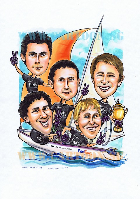 5 man sailing on yacth caricature