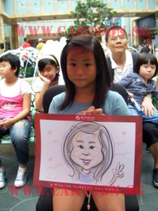 Colored caricature of a girl drawn live by caricature artists