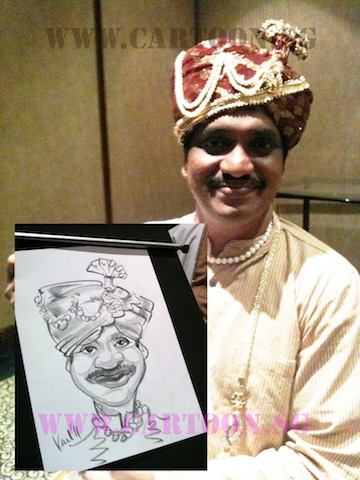 Indian guy smiling with his charcoal caricature