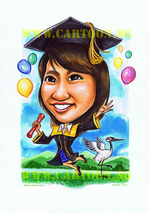 University graduation convocation congratulatory congratulations gifts lady caricature drawing by singapore cartoonist company or caricatura artists