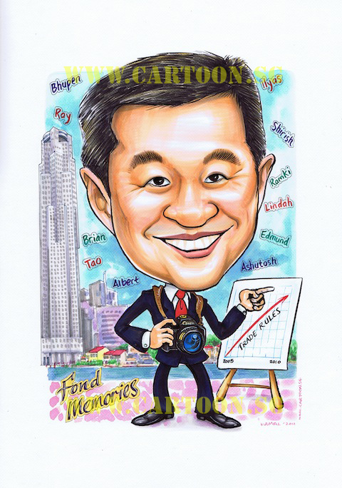 Caricature of a bank manager in Boat Quay, Singapore Central Business District. Caricature Boat Quay and Clarke Quay