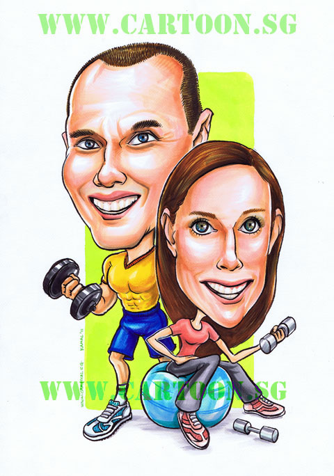 Caricature drawing of fitness programme for couple at gym with weights and ball exercise for toned muscle and enhnaced suxual performance