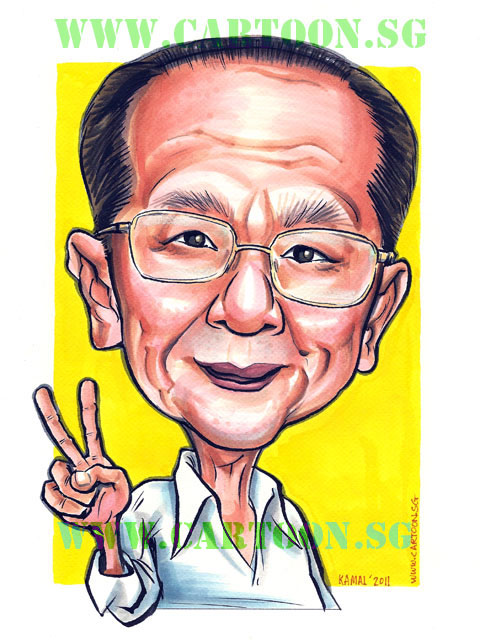 Caricature of a grandfather showing victory sign. Old man caricature by senior artist in Singapore drawing gifts portraits and caricatures.