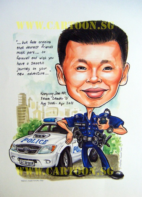 Cartoon caricature of policeman in Singapore in front of patrol car cruiser gift award for highly decorated officer.