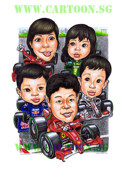 F1 race family from Singapore. Team racing cartoon formula 1 race in Singapore. Funny caricatures of races Singaporean style