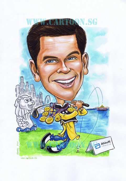 Caricature of Abbot senior staff farewell gift by Singapore artist Kamal Dollah. Boss Farewell gift.