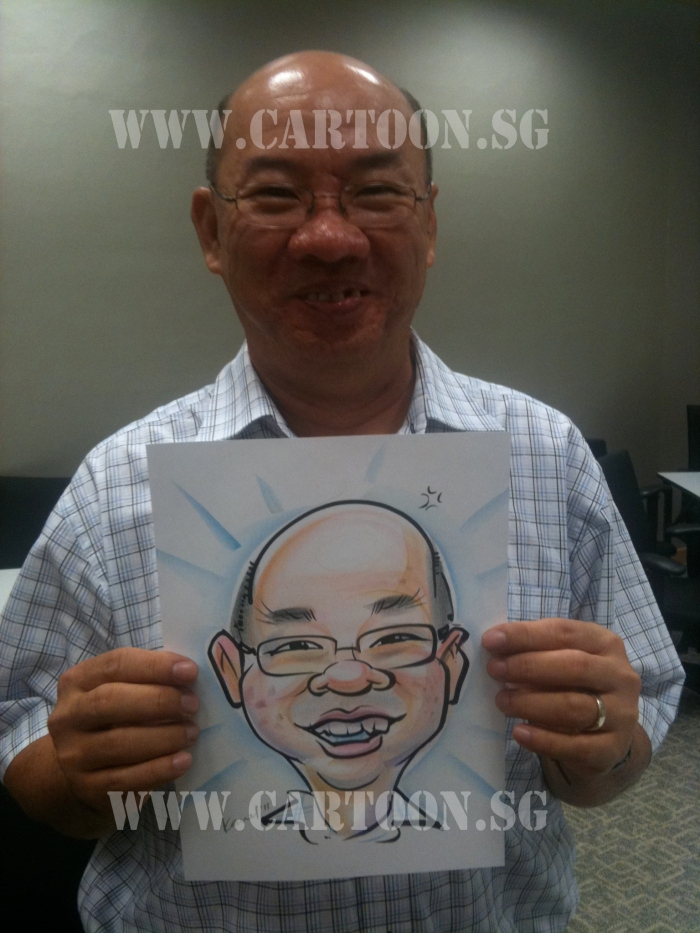 Dell staff happy with his caricature 02