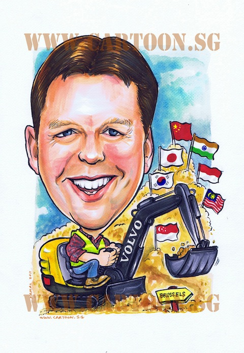 Caricature drawing of boss in construction site operating an excavator with asian flags importantly singapore flag. Caricature by Singaporean artists in Singapore for special gifts idea.