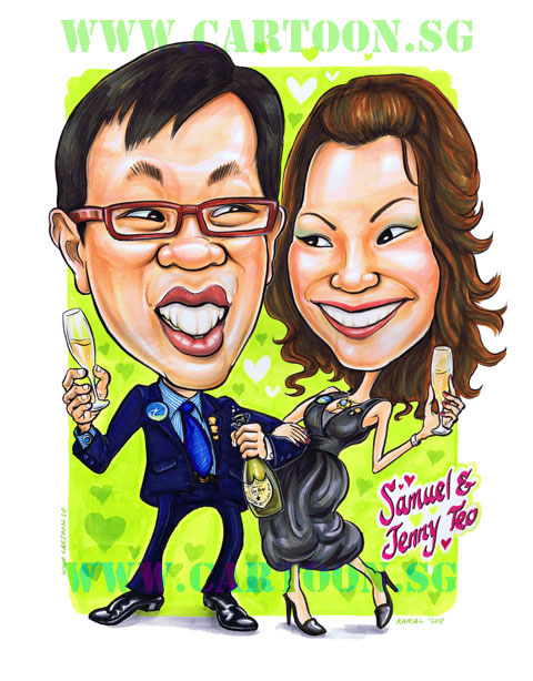 Wedding caricature of couple having celebration drinking Dom Perignon Champagne.