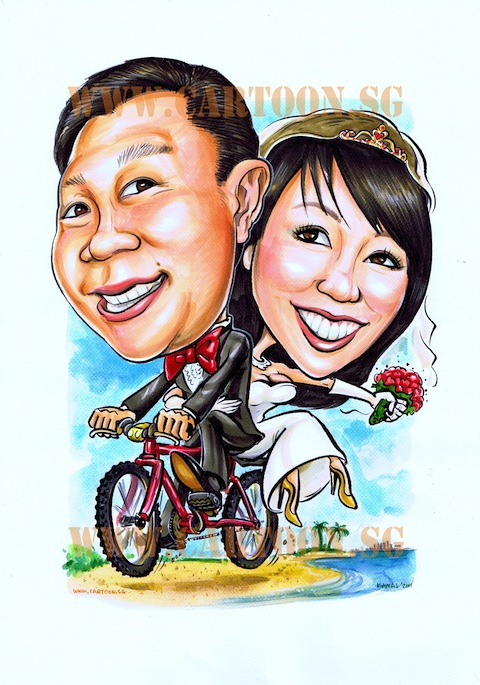 2011-05-24 couple on bicycle wedding caricature