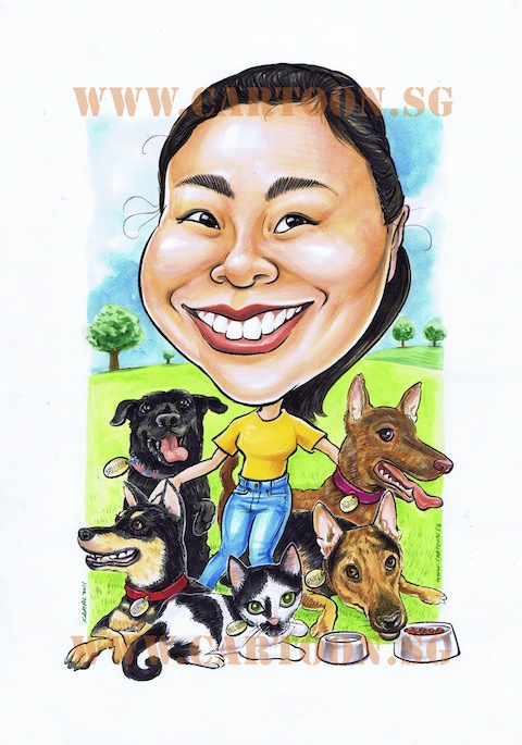 -2011-06-22-Personal-Caricature-Dogs and cat-480px
