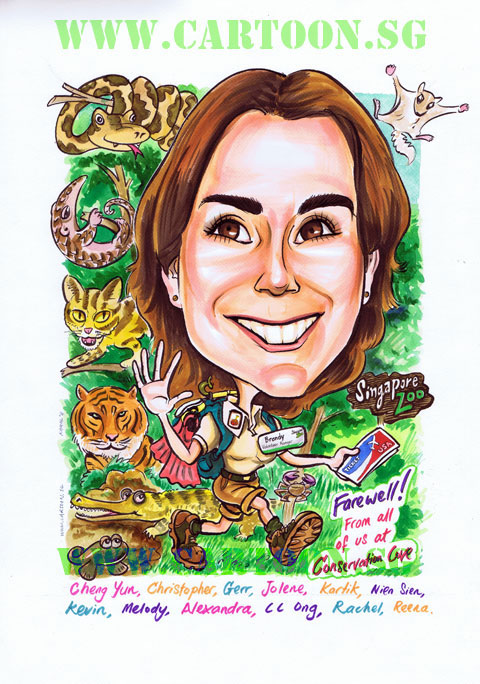 Caricature of American zoologist with lots of animal from the Singapore zoo. Gifts from staff and volunteers
