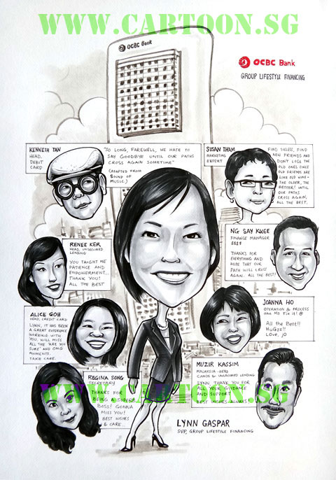Farewell gift caricature for boss of big bank in Singaporewith comic style speech bubble