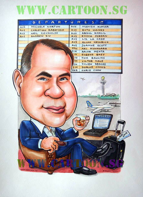 Singapore Caricature of traveller at transit area of international airport with names of parting colleagues on the board