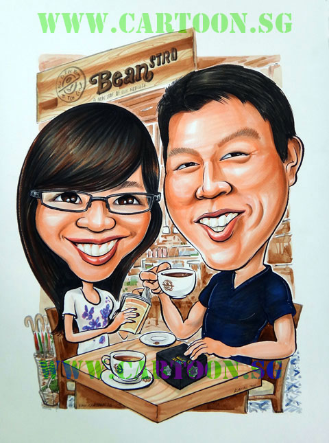 Couple anniversary celebration at Coffee Bean at Marina Bay Sands, Lovely caricature of couple