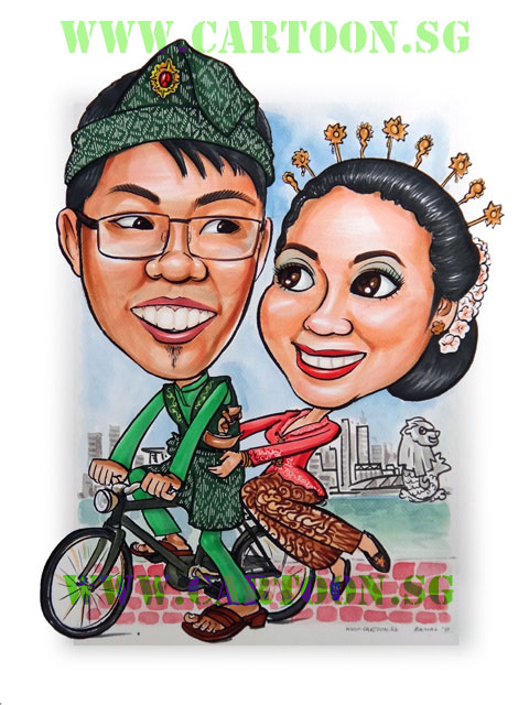 Wedding couple in Malay and Javanese wedding costume on a bicycle with the Merlion and Singapore skyline