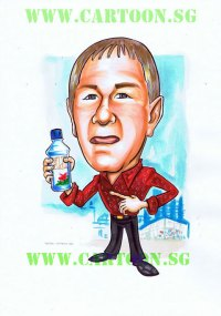 Man with red shirt holding fiji mineral water cartoon caricature drawing in singapore