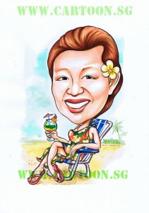 Cartoon caricature of lady seating on the beach with cocktain in her hands on a beach bench sandy beach.