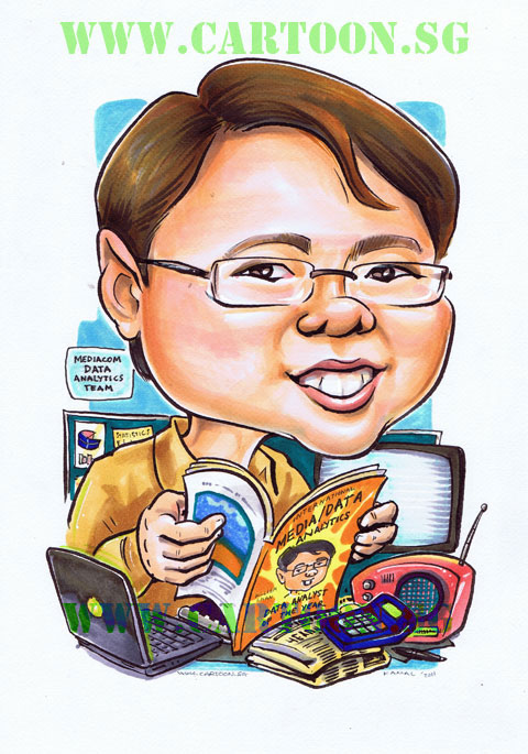 Caricature of executive seated behind desk reading magazine with his face on the cover. Singapore