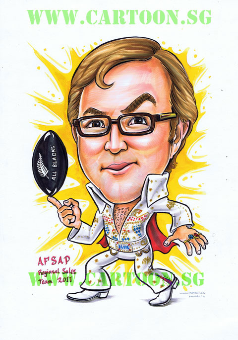Elvis Presley Fan in Vegas jump suit spinning a rugby ball drawing by Singapore caricature artists professional company. Funny gift for boss.