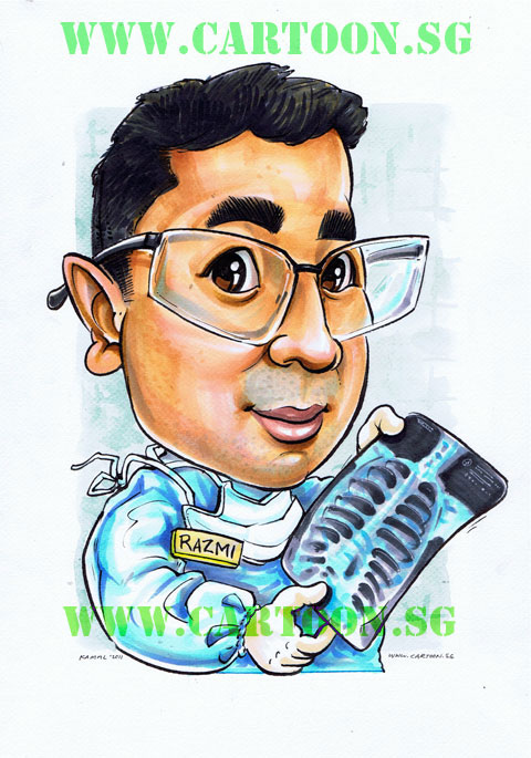 Caricature of Doctor Examine X-RAY as a Gift
