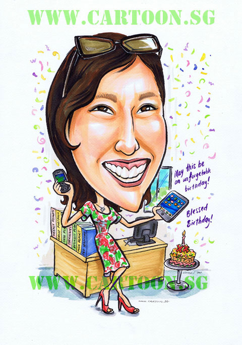 Birthday gift cartoon caricature of lady boss with ipad and blackberry phone and cake.