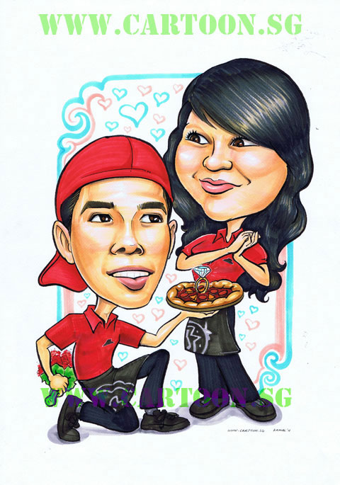 Couple caricature drawing at Pizza Hut Singapore