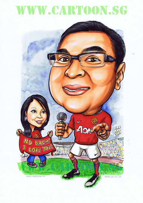 Manchester United couple caricature drawing by Singapore artist