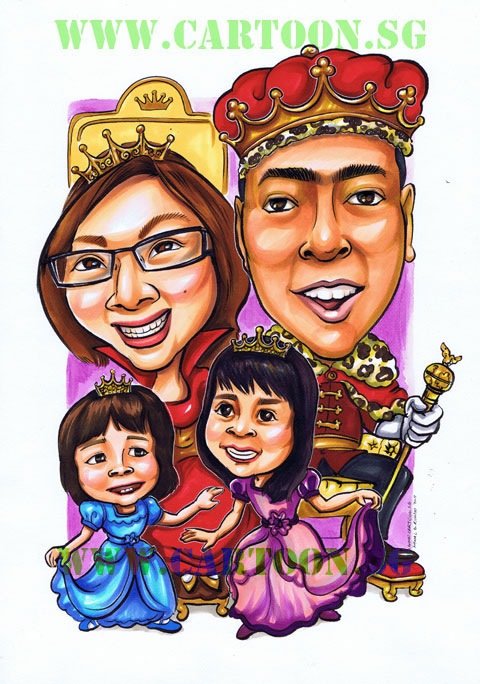 Caricature of famly as royalty king queen and princesses by Singapore artists