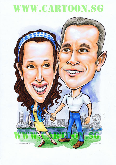 Expatriate Couple holding hands with Singapore Skyline caricature by Singapore artists