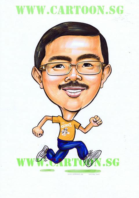 Memeber of Parliament Mr Zainal Sapari caricature drawing by Cartoon.SG