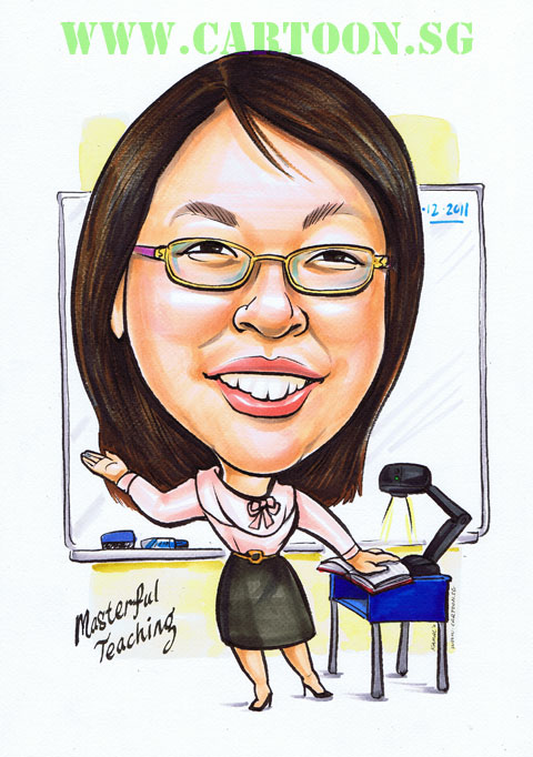 Teacher in class with visaliser caricature drawing singapore