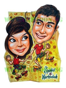 Not your typical wedding caricature but whatever makes them happy on their special day, we'll gladly oblige.