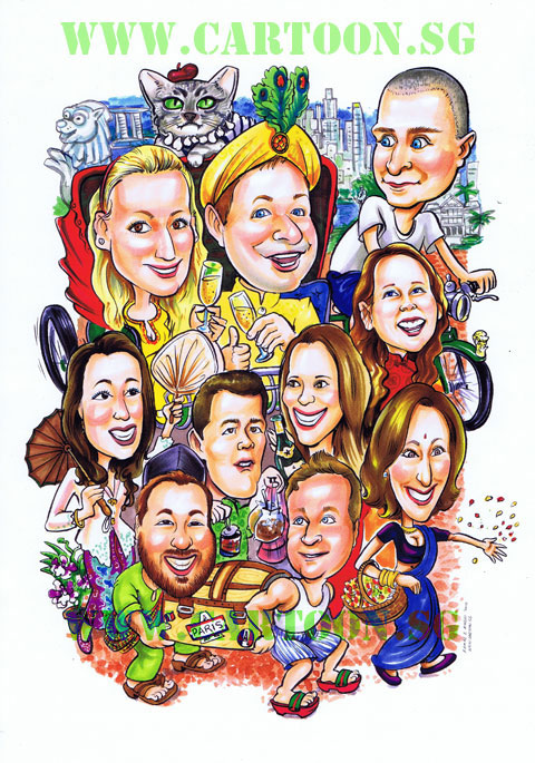 Old Singapore Theme Caricature For Expatriate Couple