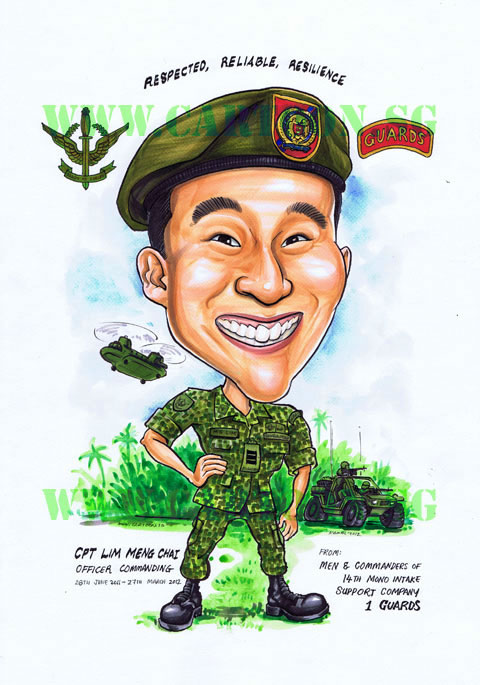 Farewell Gift Caricature For Commanding Officer