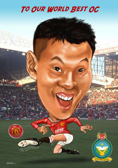 Digital Caricature As Farewell Gift to A Football Fanatic