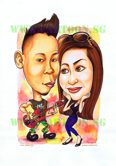 Caricature of boyfriend and girlfriend couple in a rock band playing electric guitar in concert.