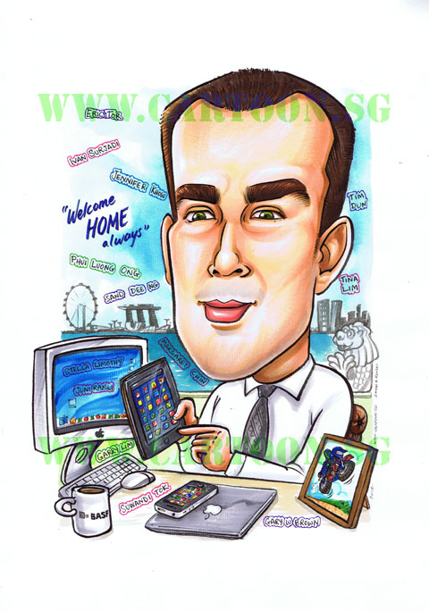 Caricature Gift,Cartoon Gift, Corporate Gift, Singapore Skyline
