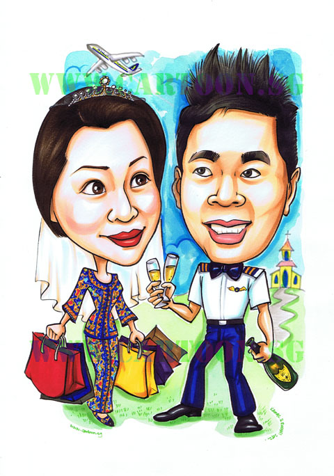 Wedding Gifts For Couples In Singapore : 2012-07-12-pilot-stewardess-wedding-caricature.jpg