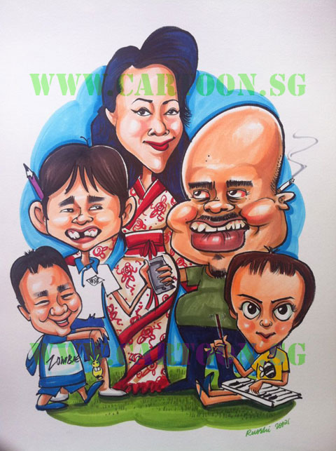 Caricature drawing of family cartoon artist
